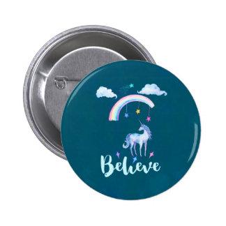 Croyez avec une licorne d'aquarelle sous un badges
