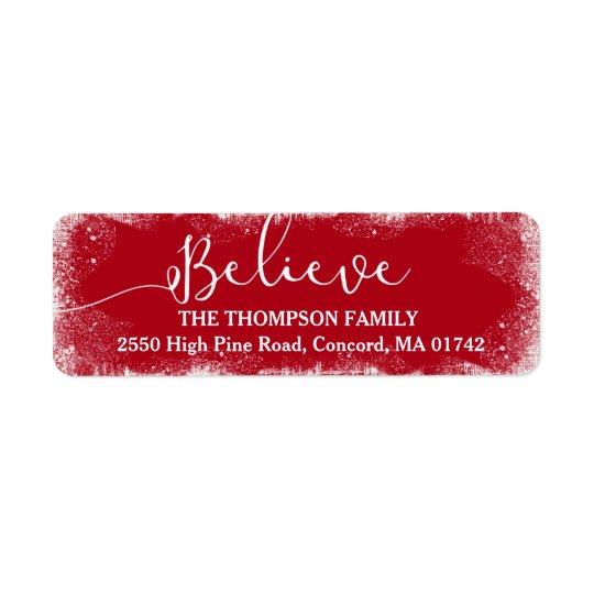 Croyez en coutume rouge de neige rustique de Noël Étiquette D'adresse Retour