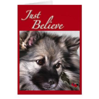 """Croyez juste"" la carte de Noël de Keeshond"
