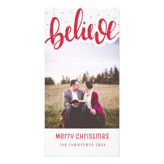 Croyez le carte photo de Noël de manuscrit