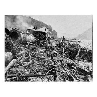 Cru 1889 d'épave de train d'inondation de carte postale