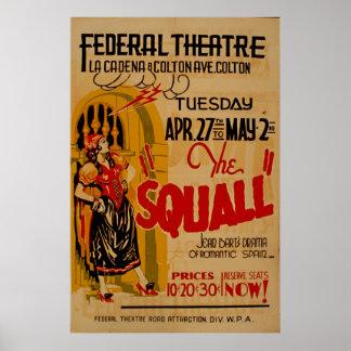 Cru 1937 espagnol romantique de WPA de femme de Posters