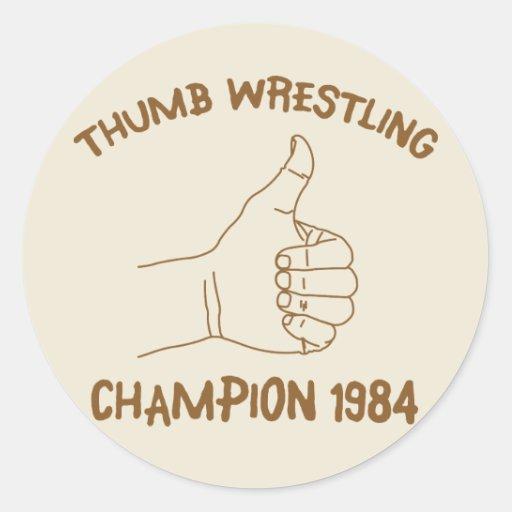 Cru 1984 de lutte de champion de pouce autocollants