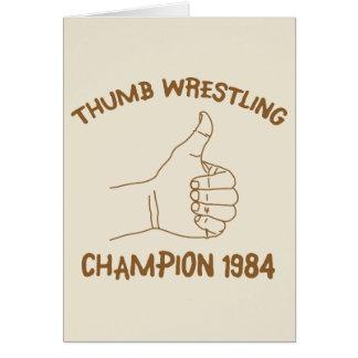 Cru 1984 de lutte de champion de pouce carte de vœux