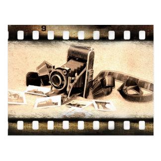Cru, accordéon-style, appareil-photo de pliage carte postale
