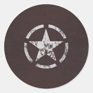 Cru blanc allié d'étoile des USA Adhésif Rond