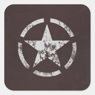 Cru blanc allié d'étoile des USA Sticker Carré