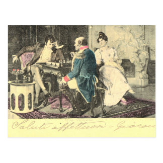 Cru, carte postale française tôt, échecs de
