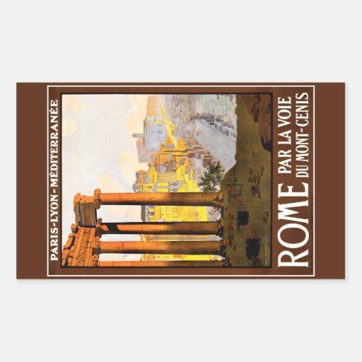 Cru d'affiche de voyage de Rome Autocollant Rectangulaire
