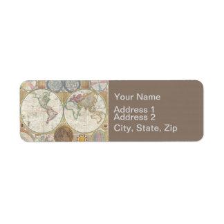 Cru d'antiquité de carte de voyage du monde étiquette d'adresse retour
