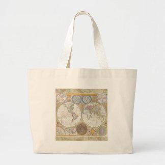 Cru d'antiquité de carte de voyage du monde grand tote bag