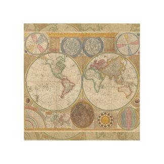 Cru d'antiquité de carte de voyage du monde impression sur bois
