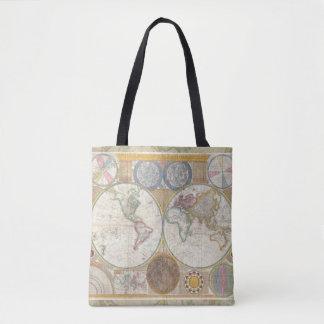 Cru d'antiquité de carte de voyage du monde tote bag