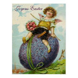 Cru de carte postale d'oeuf de pâques de roses