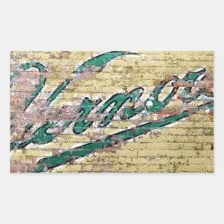 Cru de mur de briques d'Ann Arbor Michigan Vernor Sticker Rectangulaire
