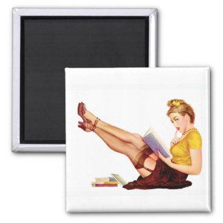 Cru de pin-up d'art de filles d'aimant rétro magnet carré