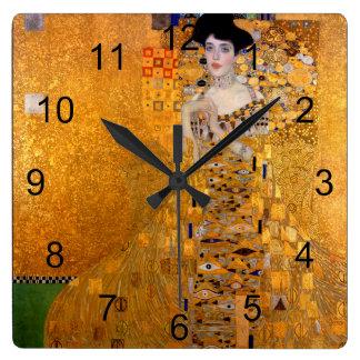 Cru de portrait de Gustav Klimt Adele Horloge Carrée