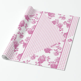 Cru de rose en pastel et de blanc rose et pois papier cadeau