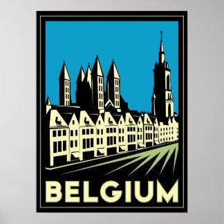 cru de voyage d'art déco de la Belgique l'Europe r Poster