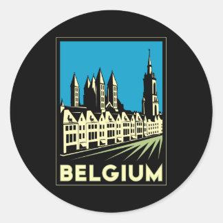 cru de voyage d'art déco de la Belgique l'Europe Sticker Rond