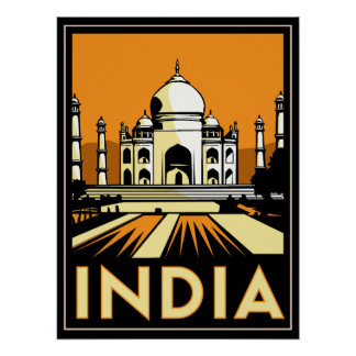 cru de voyage d'art déco du Taj Mahal Inde rétro Poster