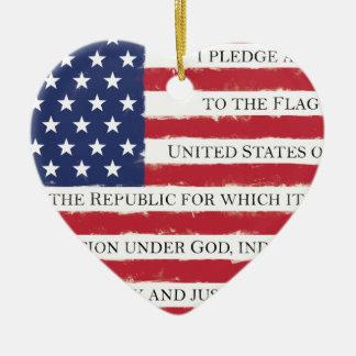 Cru d'engagement de drapeau américain ornement cœur en céramique