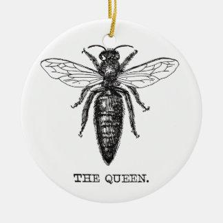 Cru d'illustration de reine des abeilles ornement rond en céramique