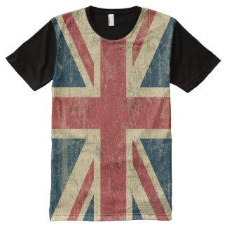 Cru d'Union Jack affligé T-shirt Tout Imprimé