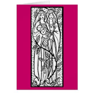 Cru - femmes et enfant - médiéval carte de vœux