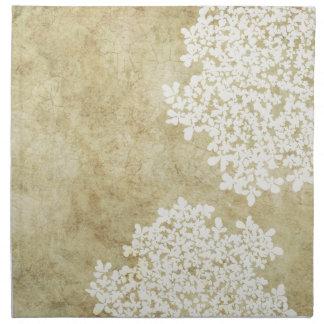 Cru floral blanc serviette en tissu