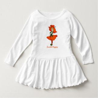 Cru floral mignon d'enfant de fleur de pavot robe manches longues