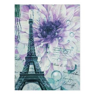 cru floral Paris de Tour Eiffel de mode girly Cartes Postales