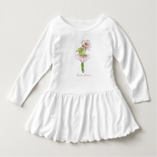Cru floral rose mignon d'enfant de fleur de rose robe manches longues