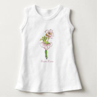 Cru floral rose mignon d'enfant de fleur de rose robe sans manche