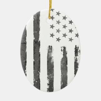 Cru gris militaire de drapeau d'Armerican Ornement Ovale En Céramique