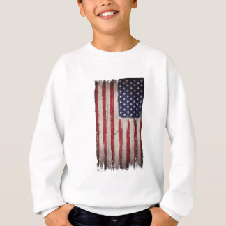Cru grunge en bois de drapeau américain sweatshirt