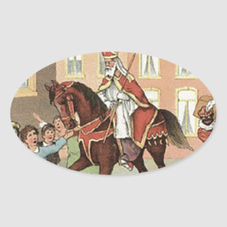 Cru néerlandais Saint-Nicolas de St Nick de Sticker Ovale