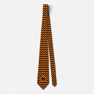 Cru noir et orange Jack-o'-lantern de chevron Cravates Personnalisables