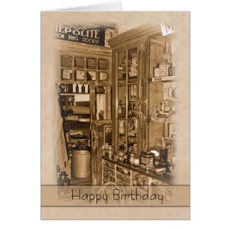 Cru, nostalgie, rétro carte d'anniversaire - vieux
