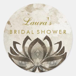 Cru nuptiale de rose de fleur de Lotus de mandala Sticker Rond