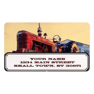 cru rouge de machine de vieux tracteur carte de visite standard