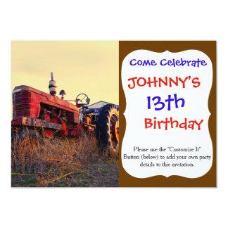 cru rouge de machine de vieux tracteur carton d'invitation  12,7 cm x 17,78 cm