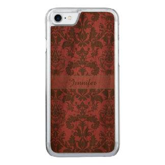 Cru, rouge de violette pâle et nom brun de damassé coque iphone 7 en bois