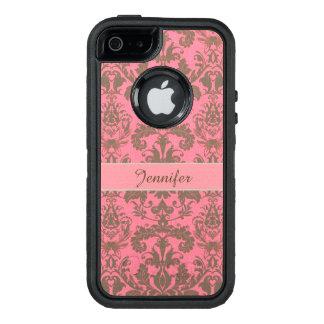 Cru, rouge de violette pâle et nom brun de damassé coque OtterBox iPhone 5, 5s et SE