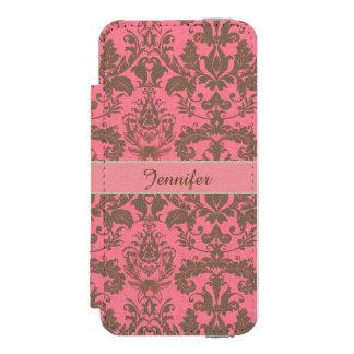 Cru, rouge de violette pâle et nom brun de damassé coque-portefeuille iPhone 5 incipio watson™