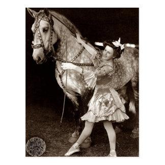Cru une fille et un cheval de cirque cartes postales
