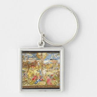 Crucifixion, 1609 (broderie) porte-clé carré argenté