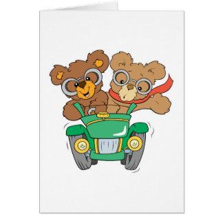 Cruisin dans des ours de voiture carte de vœux