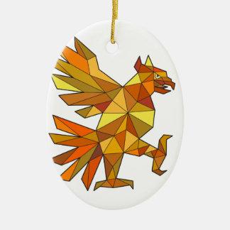Cuauhtli Glifo Eagle combattant le bas polygone de Ornement Ovale En Céramique