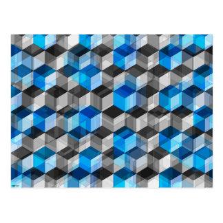 Cubes de gris et de bleu carte postale